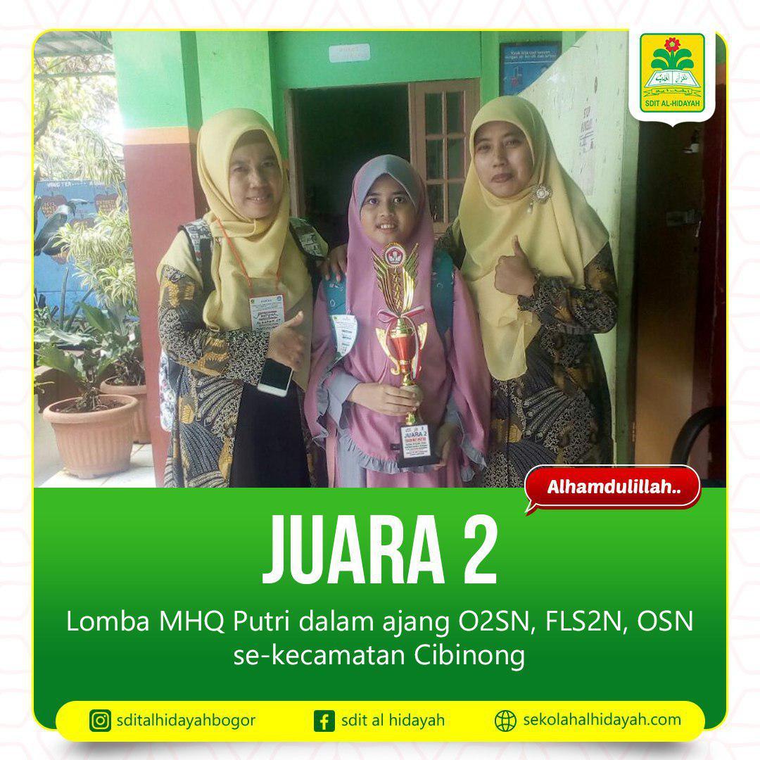 Aisyah Lathifah Syam, Juara 2 Musabaqah Hifdzil Quran (MHQ) Putri di Ajang O2SN 2019